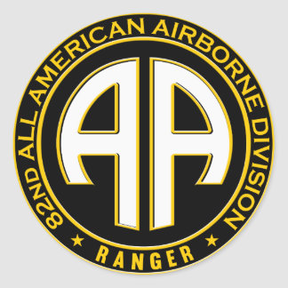 82nd All American Airborne Ranger Casual Patch Classic Round Sticker