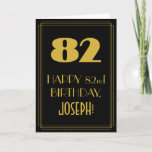 """[ Thumbnail: 82nd Birthday ~ Art Deco Inspired Look """"82"""" & Name Card ]"""