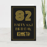"[ Thumbnail: 82nd Birthday: Art Deco Inspired Look ""82"" & Name Card ]"