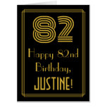 """[ Thumbnail: 82nd Birthday: Art Deco Inspired Look """"82"""" + Name Card ]"""