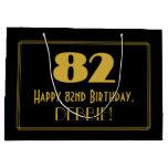 "[ Thumbnail: 82nd Birthday — Art Deco Inspired Look ""82"" & Name Gift Bag ]"