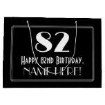 "[ Thumbnail: 82nd Birthday: Art Deco Inspired Style ""82"", Name Gift Bag ]"