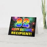 [ Thumbnail: 82nd Birthday: Bold, Fun, Fireworks, Rainbow 82 Card ]