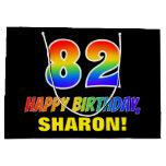 [ Thumbnail: 82nd Birthday: Bold, Fun, Simple, Rainbow 82 Gift Bag ]