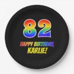 [ Thumbnail: 82nd Birthday: Bold, Fun, Simple, Rainbow 82 Paper Plate ]