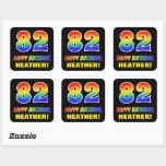 [ Thumbnail: 82nd Birthday: Bold, Fun, Simple, Rainbow 82 Sticker ]