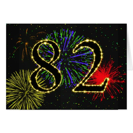 82nd Birthday card with fireworks