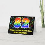 [ Thumbnail: 82nd Birthday: Colorful Music Symbols & Rainbow 82 Card ]