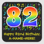 [ Thumbnail: 82nd Birthday: Colorful Music Symbols, Rainbow 82 Sticker ]