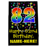 [ Thumbnail: 82nd Birthday: Colorful Stars Pattern & Rainbow 82 Gift Bag ]
