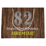 [ Thumbnail: 82nd Birthday: Country Western Inspired Look, Name Gift Bag ]