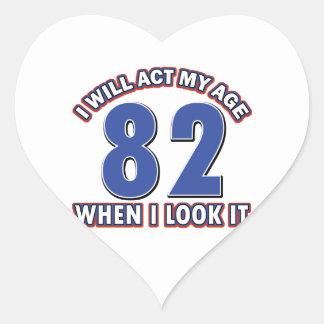 82nd birthday designs heart stickers