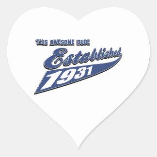 82nd birthday designs heart sticker