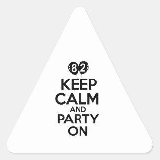 82nd birthday designs triangle stickers