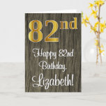 [ Thumbnail: 82nd Birthday: Elegant Faux Gold Look #, Faux Wood Card ]