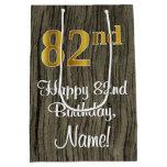 [ Thumbnail: 82nd Birthday: Elegant Faux Gold Look #, Faux Wood Gift Bag ]