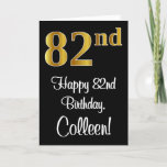 [ Thumbnail: 82nd Birthday ~ Elegant Luxurious Faux Gold Look # Card ]
