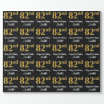 [ Thumbnail: 82nd Birthday: Elegant Luxurious Faux Gold Look # Wrapping Paper ]