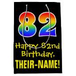 "[ Thumbnail: 82nd Birthday: Fun, Bold, Colorful, Rainbow ""82"" Gift Bag ]"