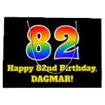 [ Thumbnail: 82nd Birthday ~ Fun, Colorful, Vibrant, Rainbow 82 Gift Bag ]