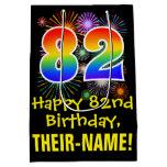 [ Thumbnail: 82nd Birthday: Fun Fireworks Pattern + Rainbow 82 Gift Bag ]