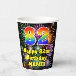 [ Thumbnail: 82nd Birthday: Fun Fireworks Pattern + Rainbow 82 ]