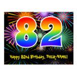 [ Thumbnail: 82nd Birthday – Fun Fireworks Pattern + Rainbow 82 Postcard ]