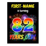 "[ Thumbnail: 82nd Birthday - Fun Fireworks, Rainbow Look ""82"" Postcard ]"