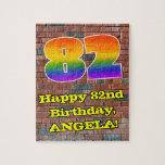 [ Thumbnail: 82nd Birthday: Fun Graffiti-Inspired Rainbow 82 Jigsaw Puzzle ]