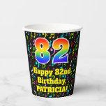 [ Thumbnail: 82nd Birthday: Fun Music Notes Pattern, Rainbow 82 ]
