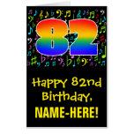 [ Thumbnail: 82nd Birthday: Fun Music Symbols + Rainbow # 82 Card ]