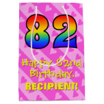[ Thumbnail: 82nd Birthday: Fun Pink Hearts Stripes; Rainbow 82 Gift Bag ]