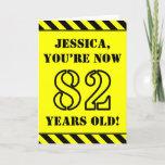 [ Thumbnail: 82nd Birthday: Fun Stencil Style Text, Custom Name Card ]