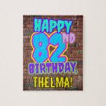 [ Thumbnail: 82nd Birthday ~ Fun, Urban Graffiti Inspired Look Jigsaw Puzzle ]