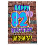 [ Thumbnail: 82nd Birthday: Fun, Urban Graffiti Inspired Look Gift Bag ]