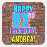 [ Thumbnail: 82nd Birthday – Fun, Urban Graffiti Inspired Look Sticker ]