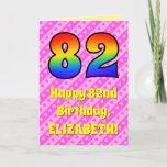 [ Thumbnail: 82nd Birthday: Pink Stripes & Hearts, Rainbow # 82 Card ]
