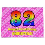 [ Thumbnail: 82nd Birthday: Pink Stripes & Hearts, Rainbow # 82 Gift Bag ]