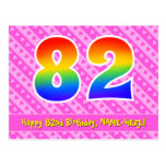 [ Thumbnail: 82nd Birthday: Pink Stripes & Hearts, Rainbow 82 Postcard ]