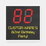 "[ Thumbnail: 82nd Birthday: Red Digital Clock Style ""82"" + Name Napkins ]"