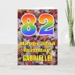 "[ Thumbnail: 82nd Birthday; Rustic Autumn Leaves; Rainbow ""82"" Card ]"