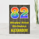 "[ Thumbnail: 82nd Birthday: Rustic Faux Wood Look, Rainbow ""82"" Card ]"