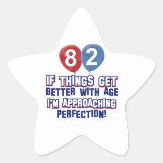 82nd year birthday designs star stickers