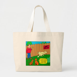 830 dog can read cartoon large tote bag