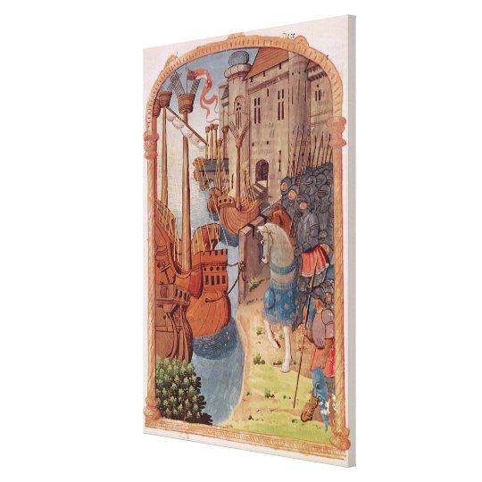 8378 Velin 745 f.1 Knights on horseback, c.1350's Canvas Print