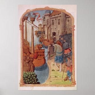 8378 Velin 745 f.1 Knights on horseback, c.1350's Poster