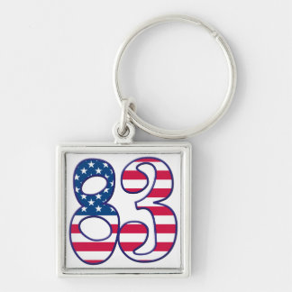 83 Age USA Silver-Colored Square Keychain