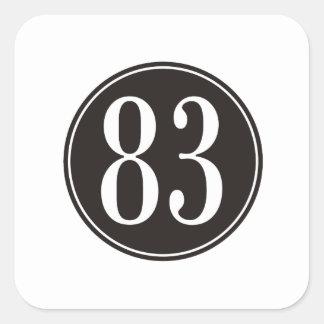 #83 Black Circle Square Sticker