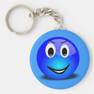 83-Free-3d-Grinning-Blue-Smiley-Face-Clipart-Illus Keychain