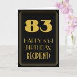 "[ Thumbnail: 83rd Birthday – Art Deco Inspired Look ""83"" & Name Card ]"